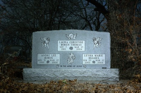 The grave-site of Thomas' 3 young victims. Photo Credit Matt Rainwater for Texas Monthly, courtesy of NYT.
