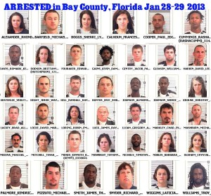 News coverage showing the number of arrests in one day in one county in Florida.http://baycountypress.com/2013/01/29/arrest-logs-and-mug-shots-for-bay-county-florida-jan-28-29-2013/