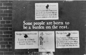 "U.S. eugenics poster advocating for the removal of genetic ""defectives"" such as the insane, ""feeble-minded"" and criminals, and supporting the selective breeding of ""high-grade"" individuals, c. 1926. Image: Wikipedia"