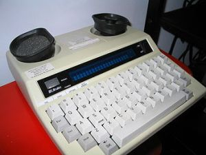 Modern TTY with acoustic coupler for text-to-speech. Image - Wikipedia