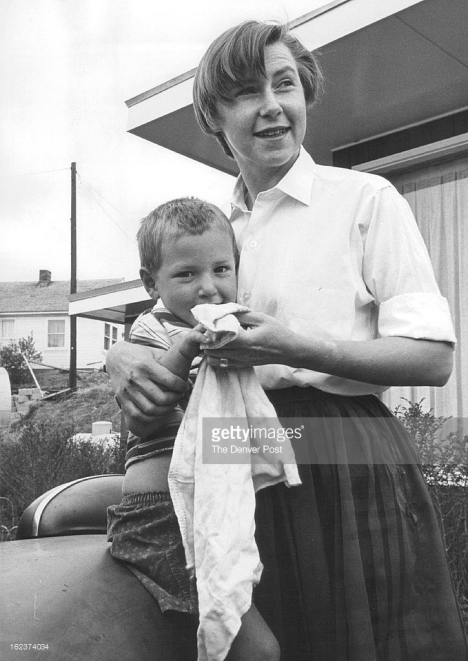 MAY 20 1963; Joanne Greenberg scrubs up Son Alan, age four; She finds room for literary career on Lookout Mountain.; (Photo By The Denver Post via Getty Images) Credit: The Denver Post / contributor